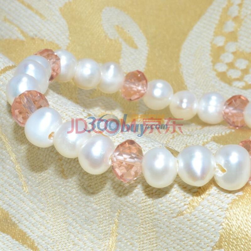 传神天然珍珠粉水晶手链图片