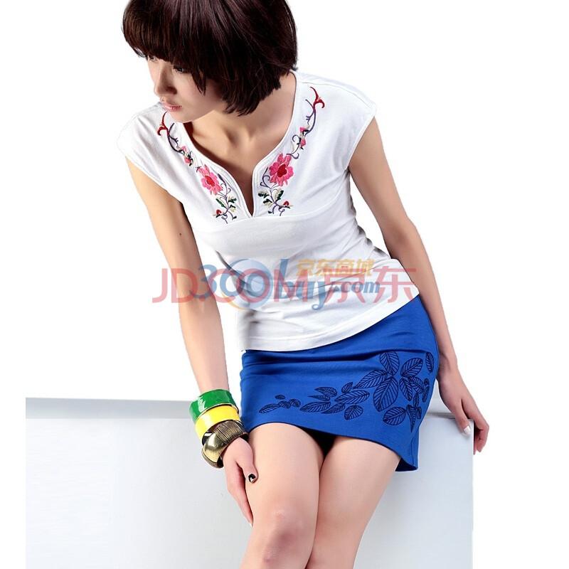 裂帛新 单线绣花 打鸡布 小短裙 半身裙 4677图片