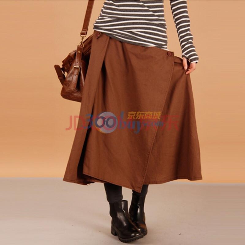 百武西 原创二月笑靥前打褶结构半身长裙t0460 咖啡色 均码