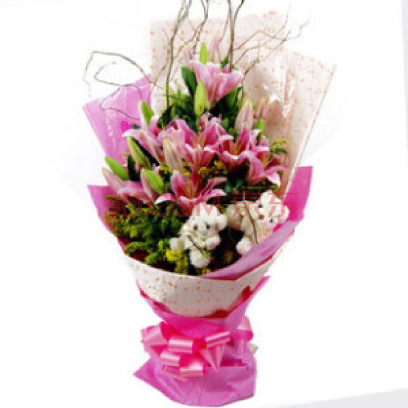 鲜花 最美丽的一天 6枝粉百合 七夕情人节图片图片