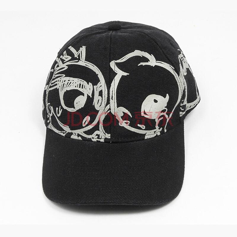 缤果(benko)手绘太阳帽(黑) 卡通可爱 男士女士通用韩版图案帽子 圣