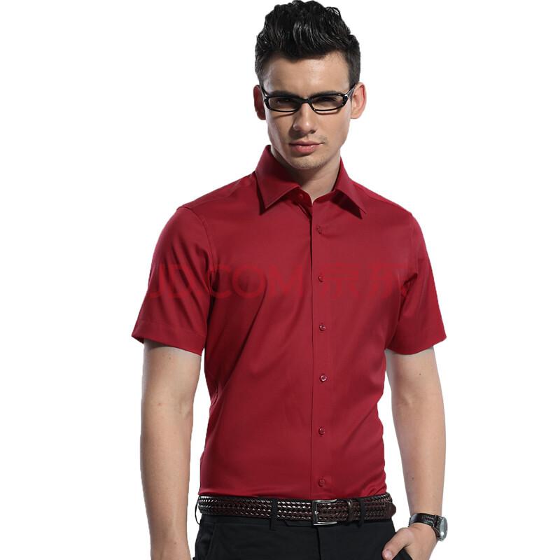 男士短袖红色衬衫