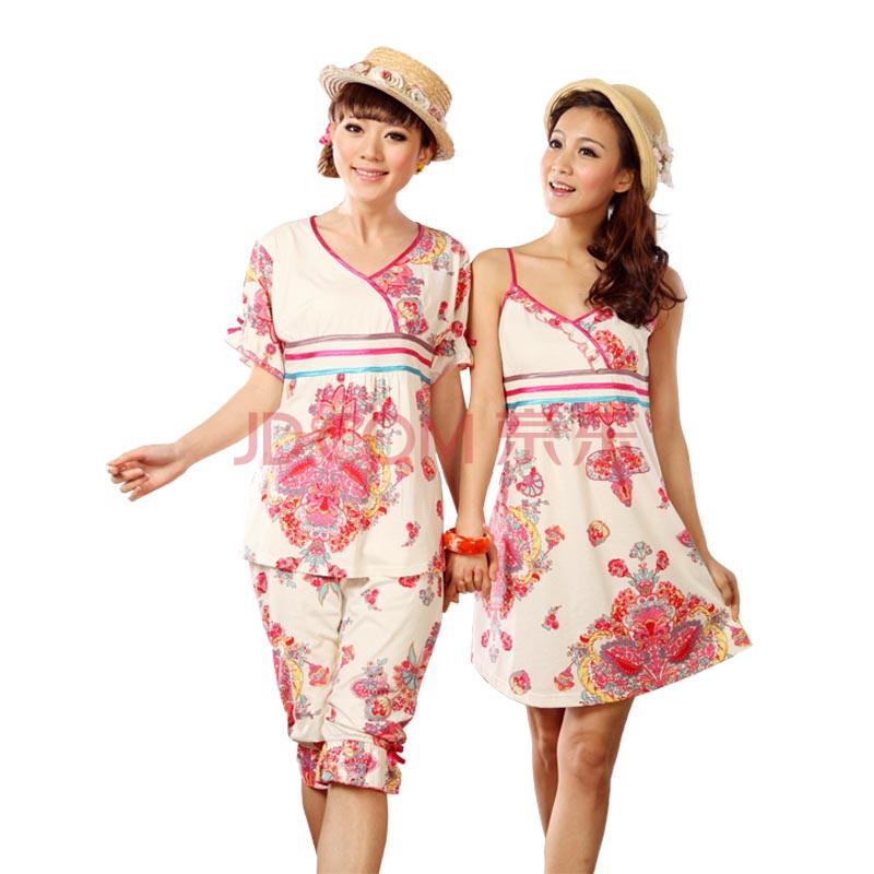 2012女式睡衣 夏日罗马风情夏季睡衣套装 上衣 短裤 睡裙 2046 浅粉色