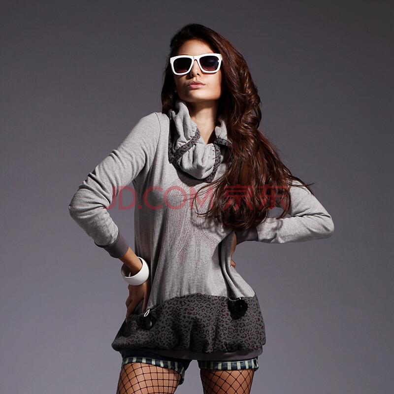 拓谷2012秋装新品开襟堆堆领字母人头像长款套头针织衫 长款 女 花灰