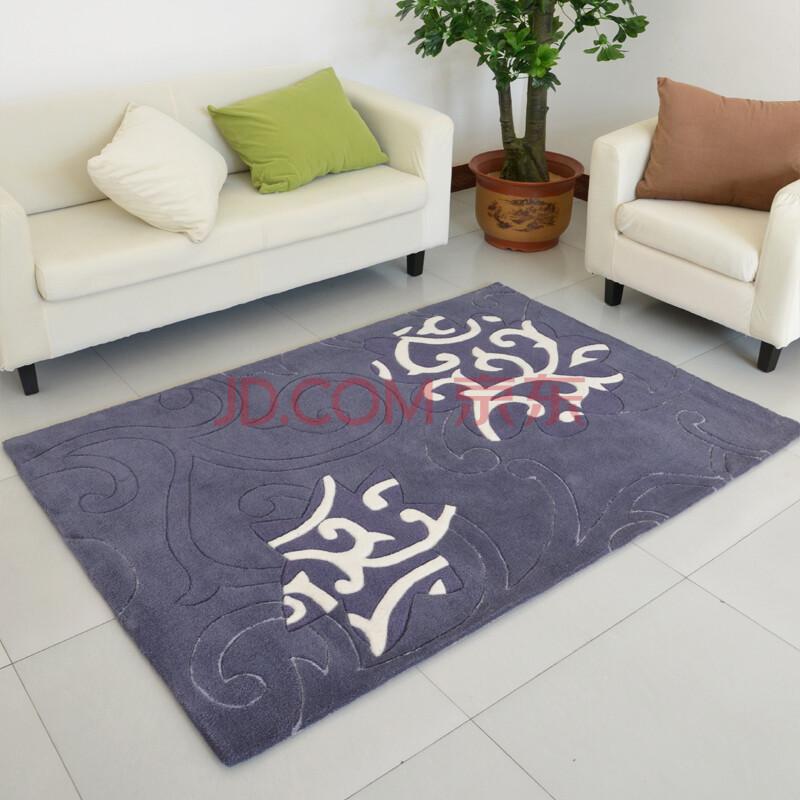 七彩潮 手工剪花客厅书房地毯地垫 灰色素拓暗花jst 120*170cm