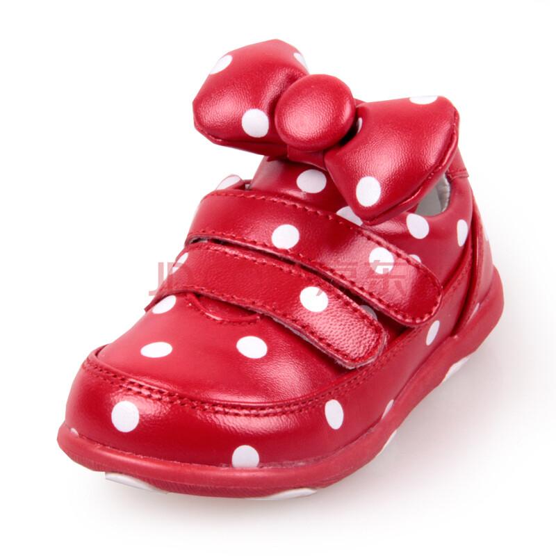 富罗迷婴儿鞋 宝宝鞋子 女学步鞋女童卡通羊皮真皮软底皮鞋 大红 24码