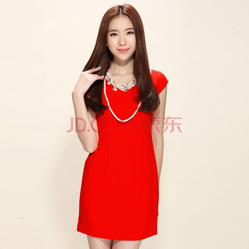 三彩女装2013夏装 修身短袖连衣裙s122307l20 红色 175 xxl-三彩女装