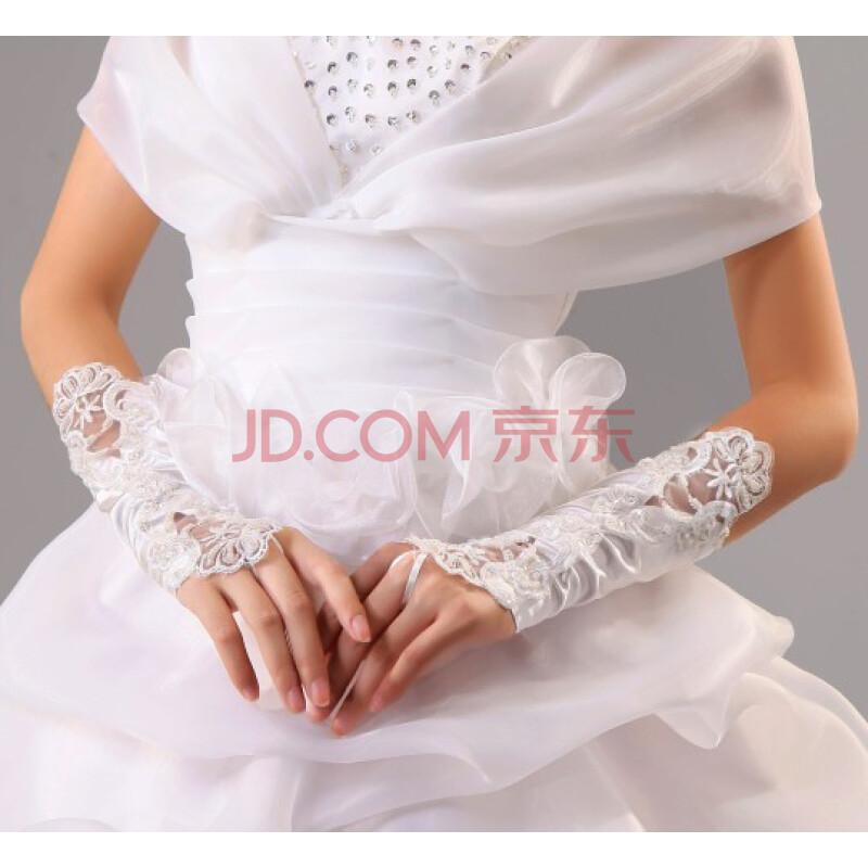 麦熙新娘必备结婚搭配婚纱手套 蕾丝花边白手套 无指