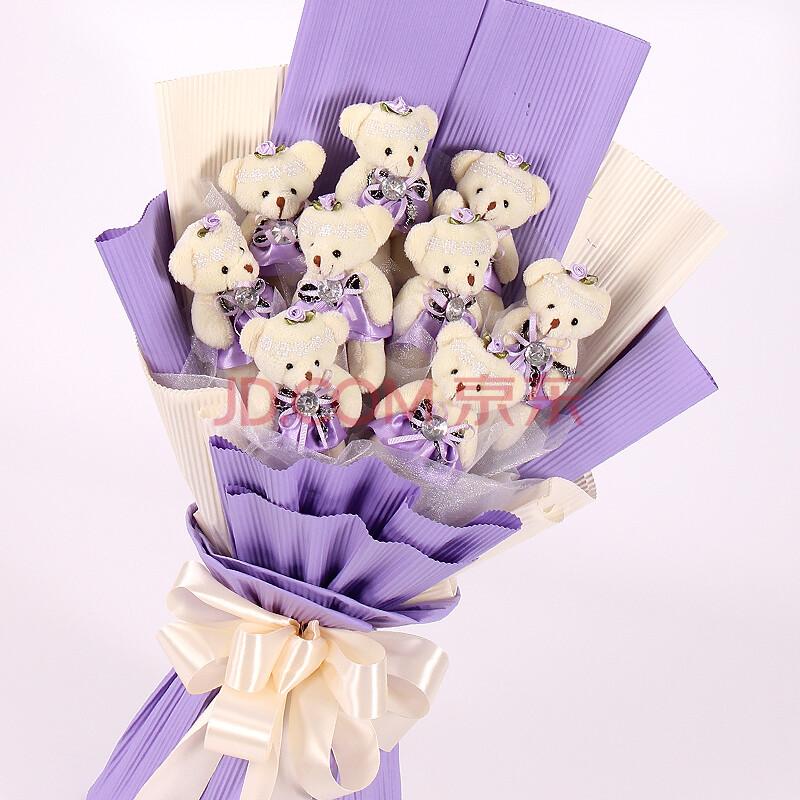 卡通小熊公仔玩偶情侣娃娃仿真花束创意礼品生日礼物