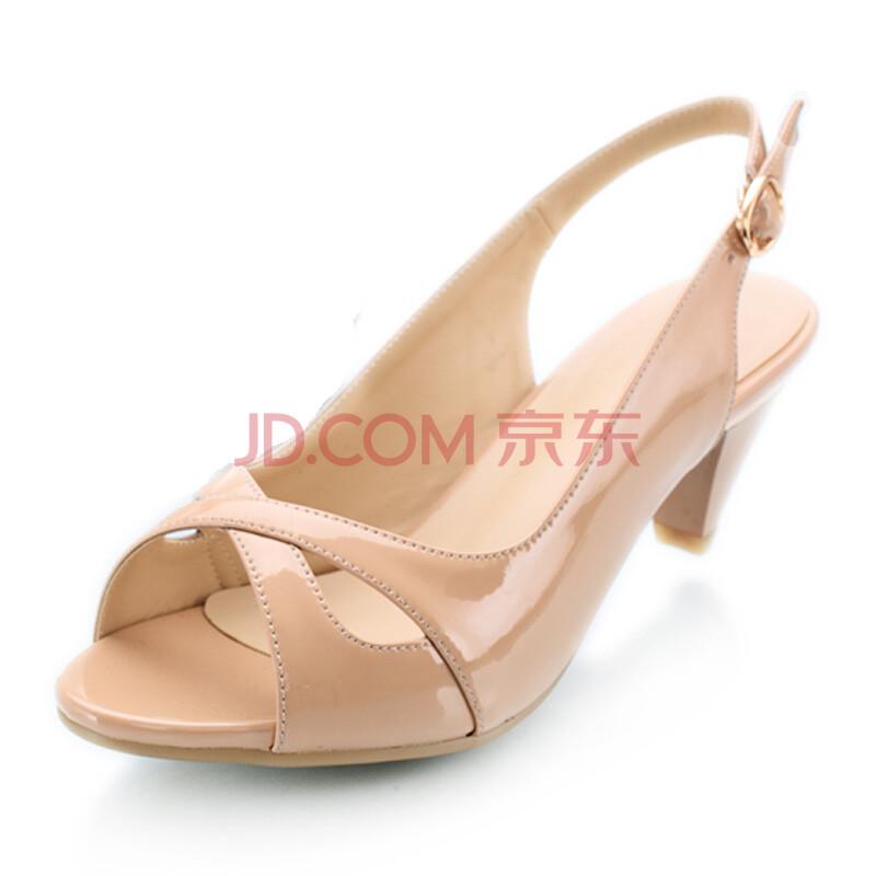 阿卡多2013新款漆皮鱼嘴中跟凉鞋搭扣镂空百搭女鞋