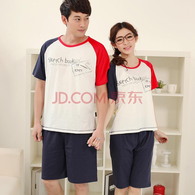樱歌丽语夏季新款 简约铅色手绘图情侣睡衣 红蓝撞色拼接 白衣短袖