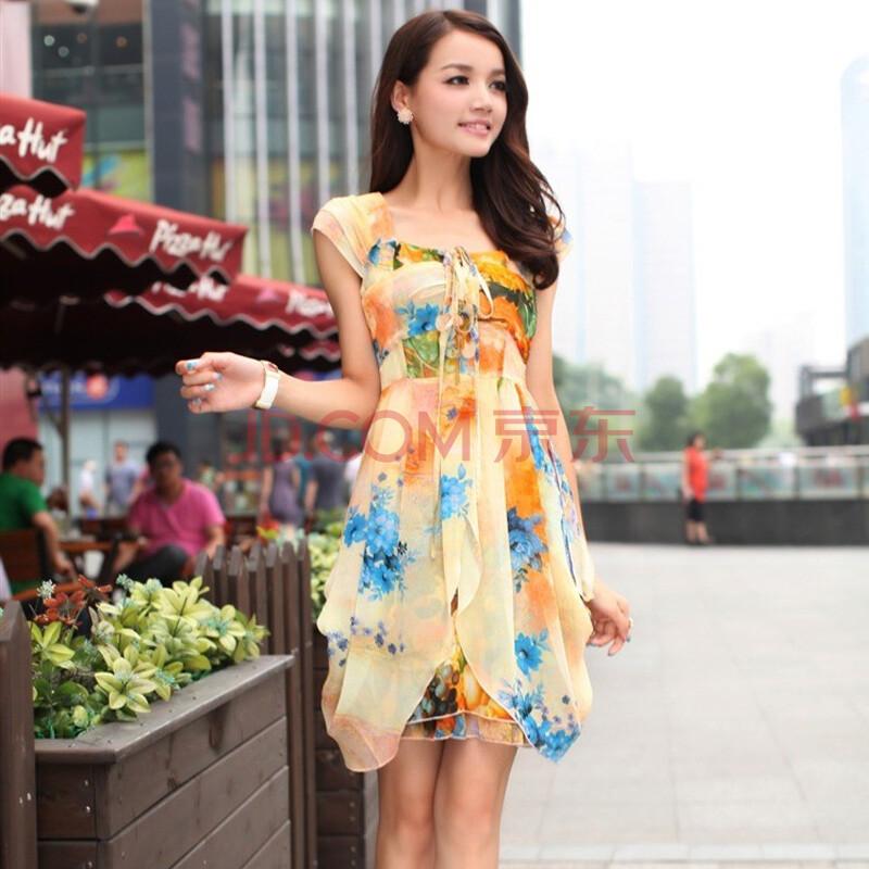 2013夏季热卖花色甜美洛丽塔吊带雪纺女士短裙