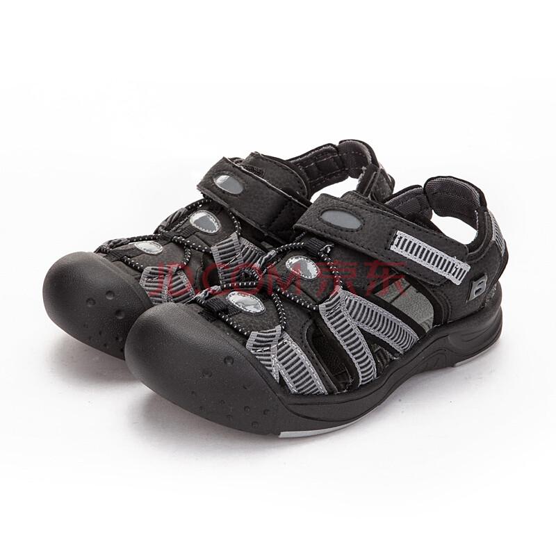 巴布豆(bobdog)中童v黑色慈溪黑色b1223381凉鞋200(内长约20cm)包头发光笔图片