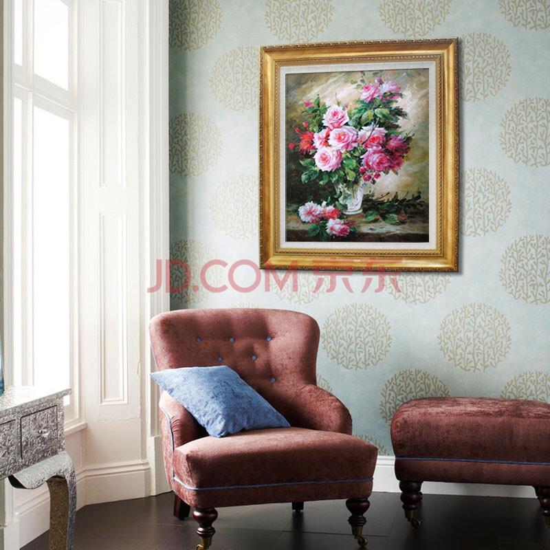 煌巢尚品 油画花卉 餐厅装饰画 纯手绘印象浪漫粉月季花有框画 壁画h