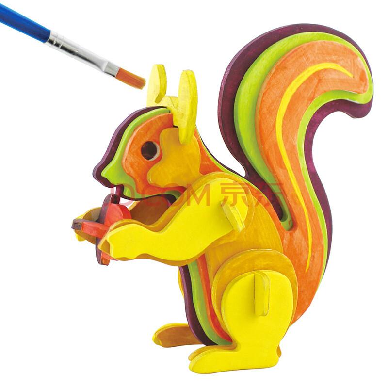 若态科技儿童玩具diy 3d木质仿真拼图系列动物飞机送颜料画笔 jp217a