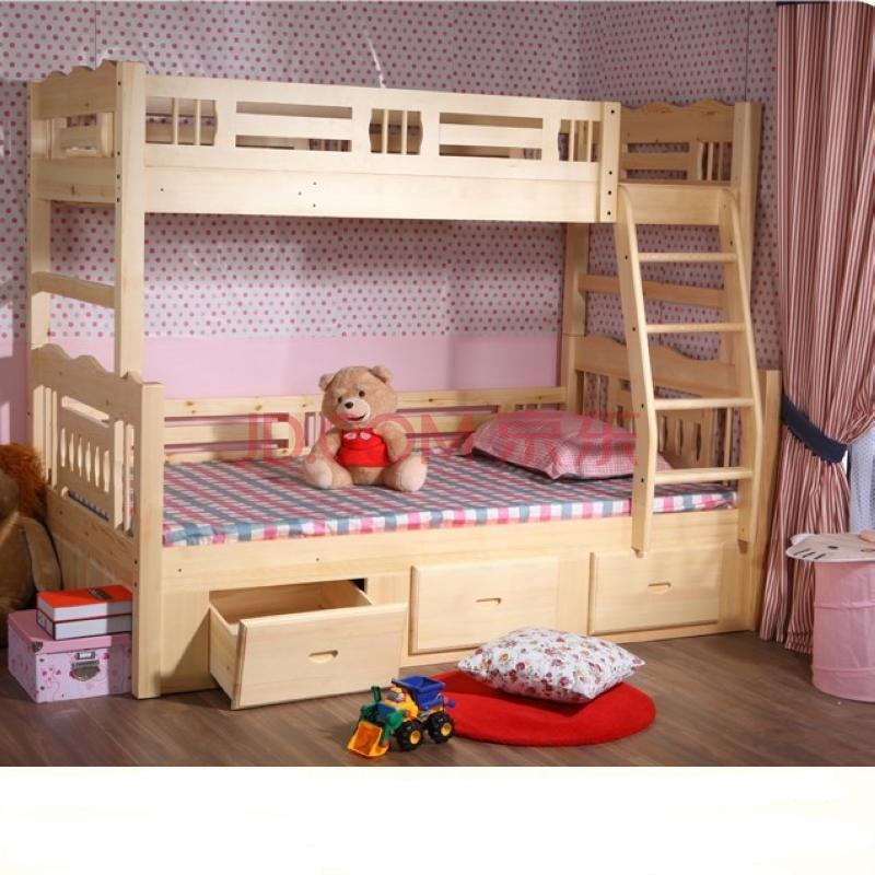 悠佳儿童床实木双层床松木上下床高低床子母床上下铺