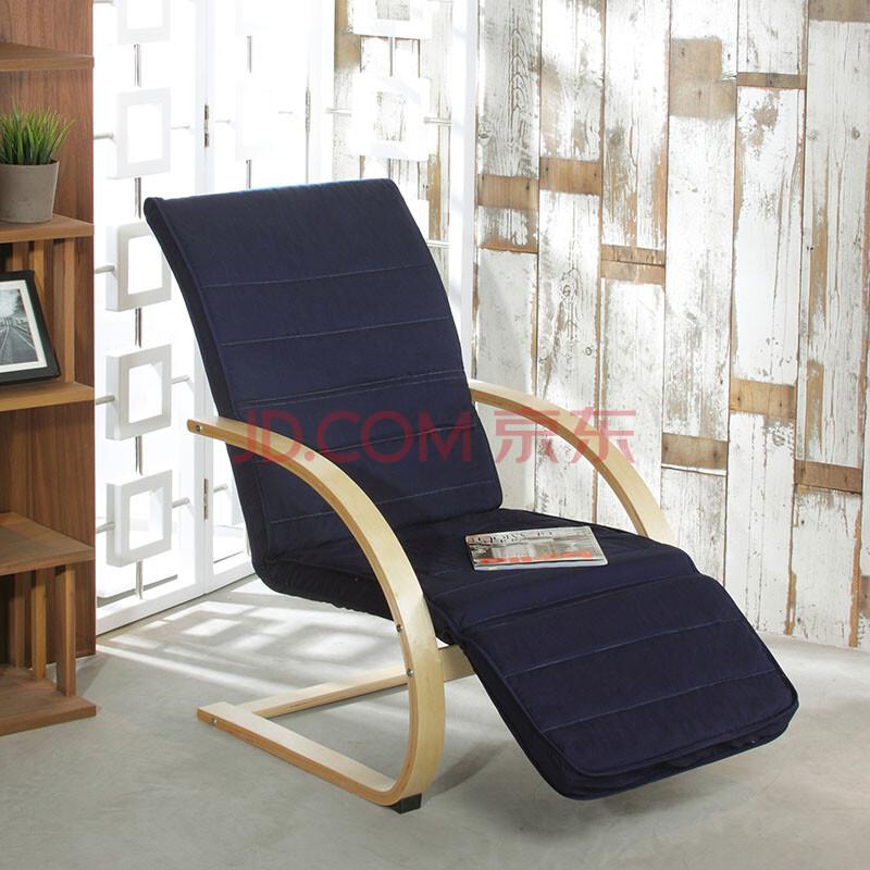 新美家具 现代简约 可折叠 实木布艺 休闲沙发椅 a1013 蓝色