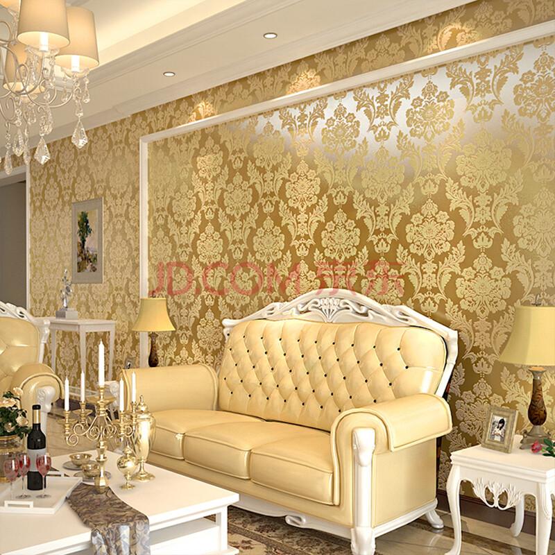 r玛尚壁纸 卧室客厅背景墙壁纸欧式大马士格植绒发泡