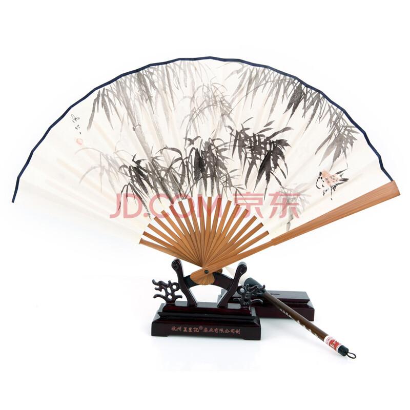 王星记扇子*8寸手绘白纸扇 竹扇 折扇 纸扇 男扇 日用扇 绽放 竹子