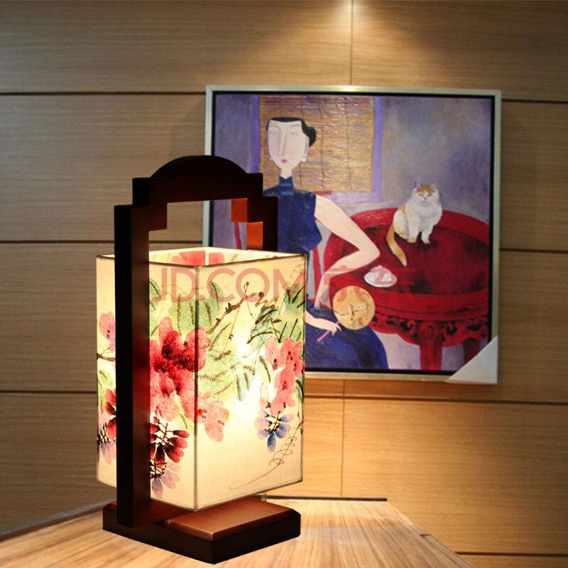 比月 照明灯具 中式古典 手绘中国画 实木框架 羊皮装饰台灯2571 大号