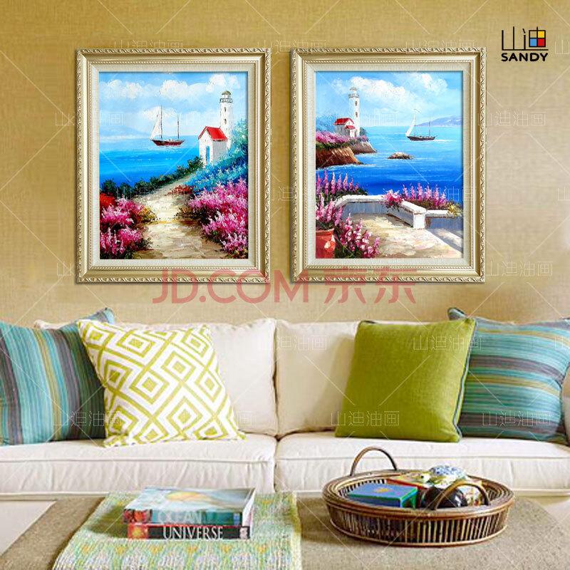 山迪 手绘油画 装饰画客厅风景画欧式餐厅挂画壁画爱情海两件套 爱情