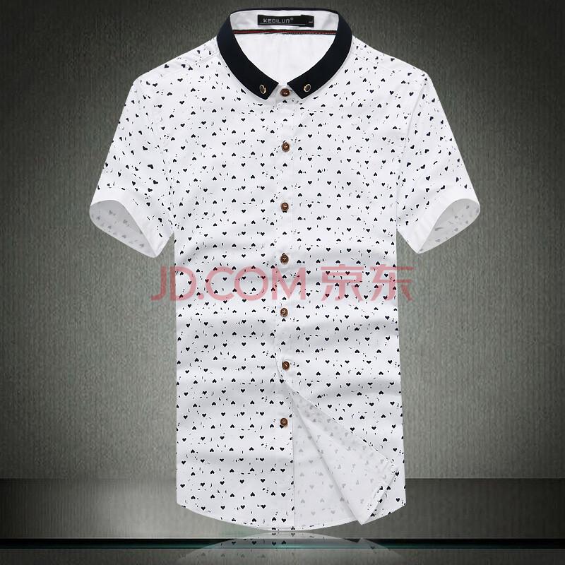 2014   新品  休闲  男士爱心图案修身韩版短袖衬衫