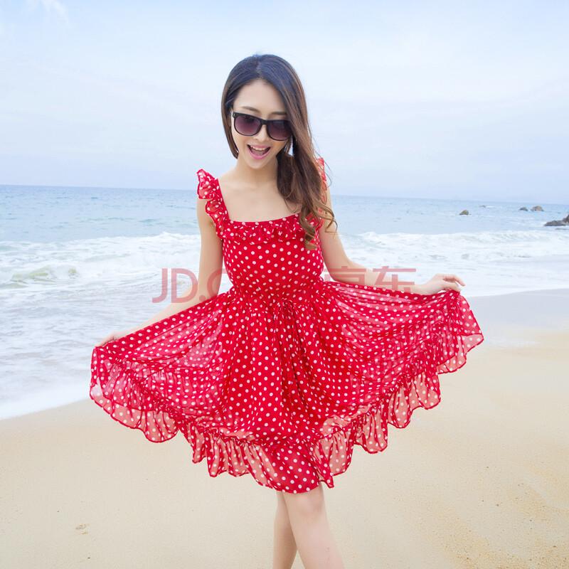 2014新款夏沙滩圆点甜美可爱公主裙荷叶边露背短裙n908ad56#8013 红色