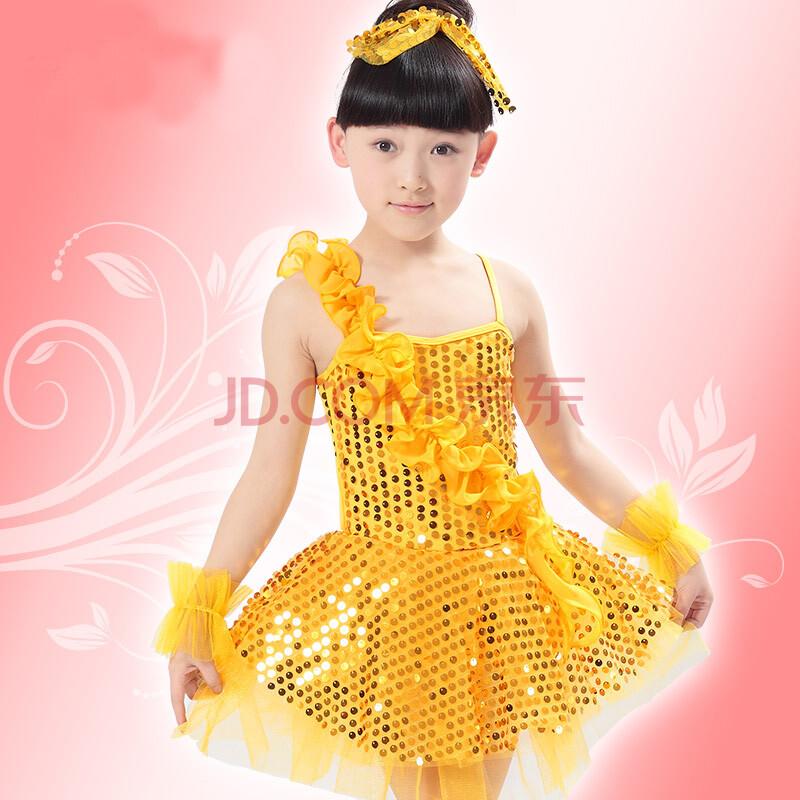 儿童演出服舞蹈服装亮片纱裙可爱公主服表演服现代