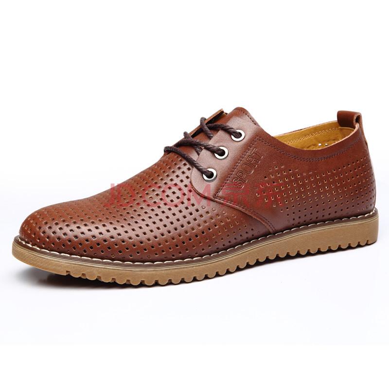 TRANREA崇源夏鞋新款休闲鞋男鞋镂空男鞋英伦透气鞋男士真皮凉鞋839