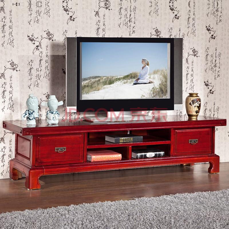 帝喜 中式家具 实木电视柜 简约组合机柜/地柜 榆木电视柜 红木色