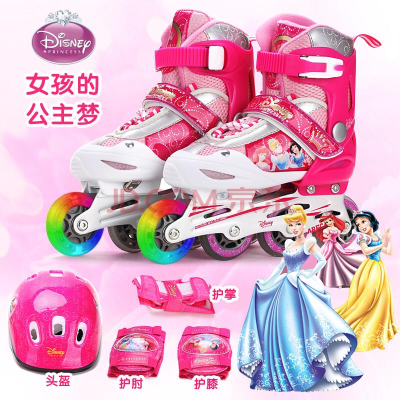 迪士尼溜冰鞋儿童套装旱冰鞋可调伸缩轮滑鞋