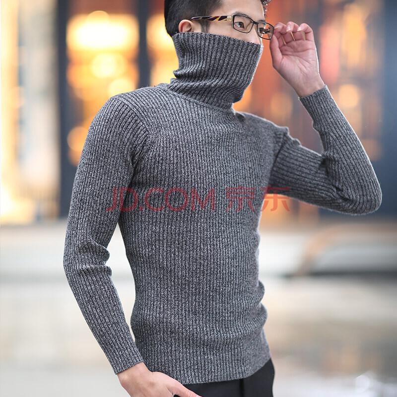 翰鹰男士毛衣高领男加厚针织衫高翻领韩版修身羊毛衫新款打底衫冬 花