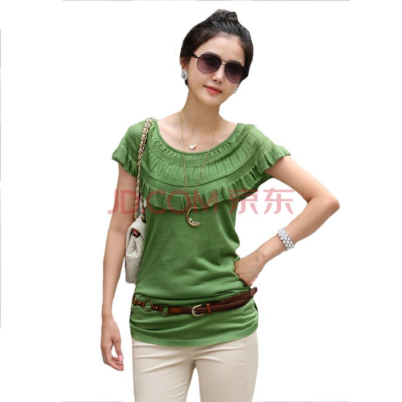 佳娜莉 夏季新款女装 针织短袖体恤衫 优雅针织衫 针织夏款t恤 绿色