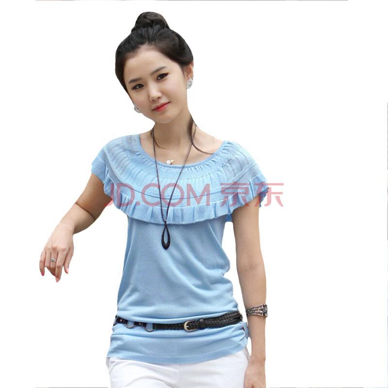 佳娜莉 夏季新款女装 针织短袖体恤衫 优雅针织衫 针织夏款t恤 蓝色