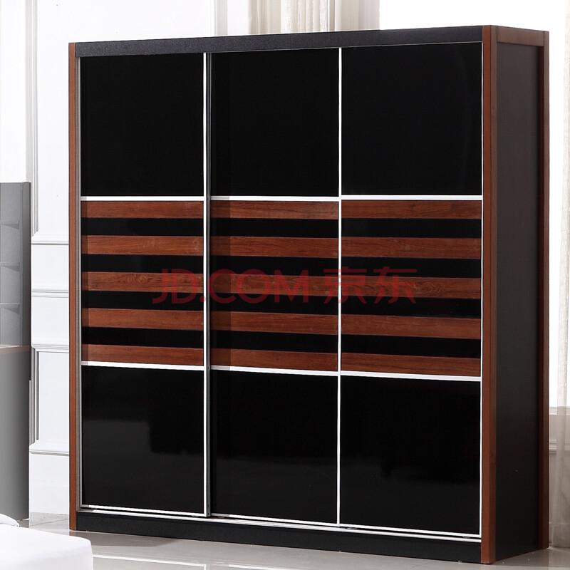 三门衣柜 推拉门衣柜 储物衣柜 板式家具 胡桃木衣柜 中式风格