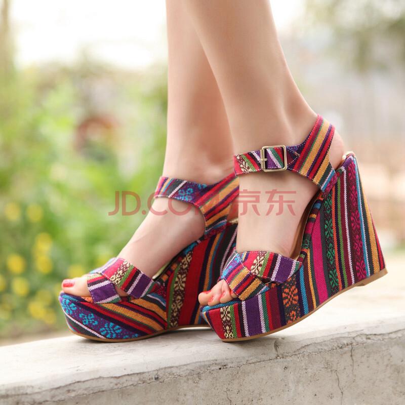 2014新款夏季布凉鞋女民族风高跟鞋欧美坡跟