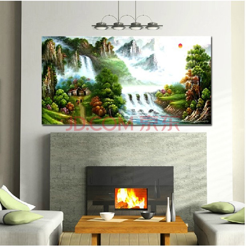 数字油画 diy情侣手绘客厅墙壁装饰画(单独不带框) 新