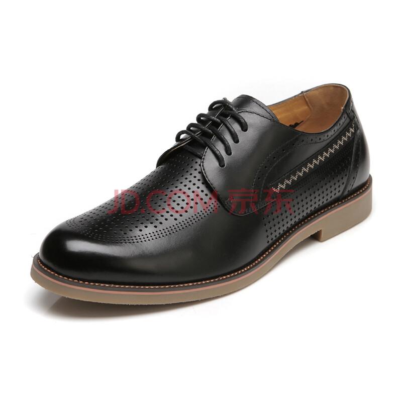 红蜻蜓 正品真皮舒适透气系带打孔男鞋男凉鞋 WTL34911/12 黑色 43