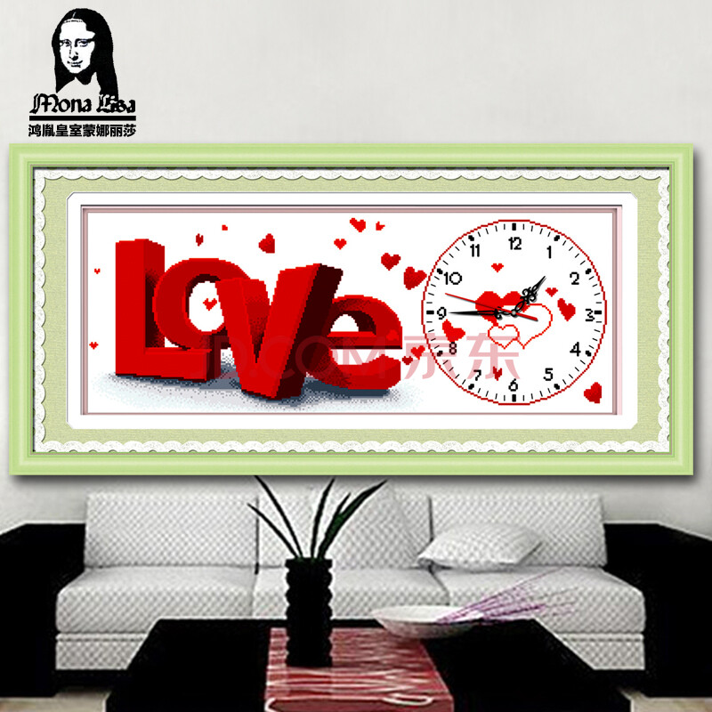 鸿胤皇室蒙娜丽莎十字绣钟表系列浪漫回忆love十字绣画简单十字绣 w1图片