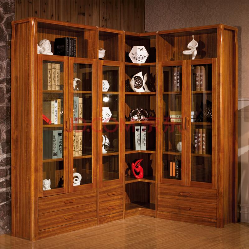普上实木书柜子书架转角自由组合书柜玻璃门家用家居大书柜小户型多门