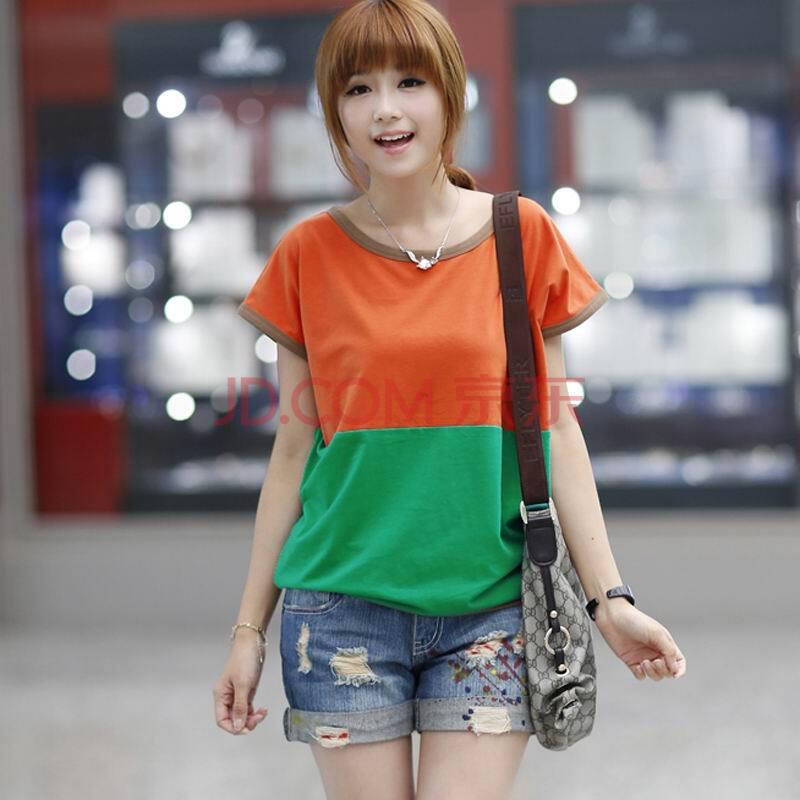 货到付款 2014夏装新品韩版女装时尚甜美圆领拼色修身显瘦纯棉短袖T恤 N525