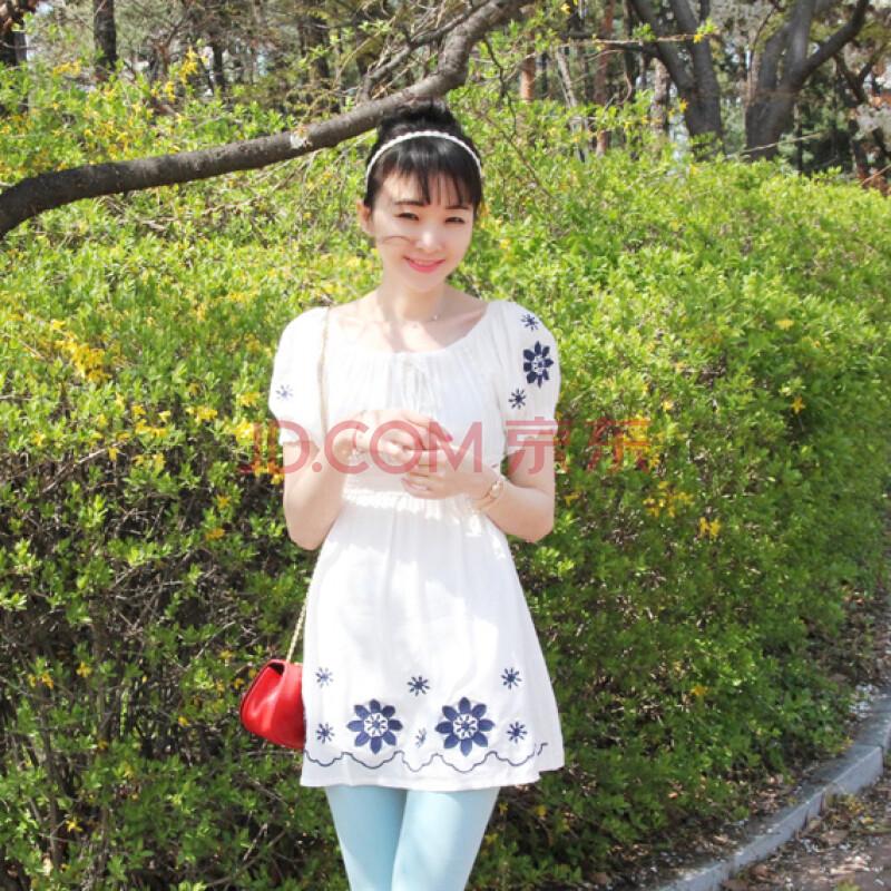 森女系全棉刺绣太阳花娃娃裙图片