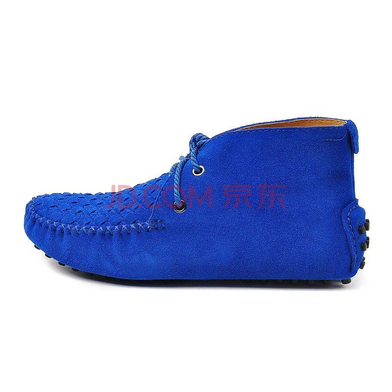 沃德丰  7258彩蓝色 AUSLAND2013手工编织牛皮中帮情侣款豆豆鞋 蓝色