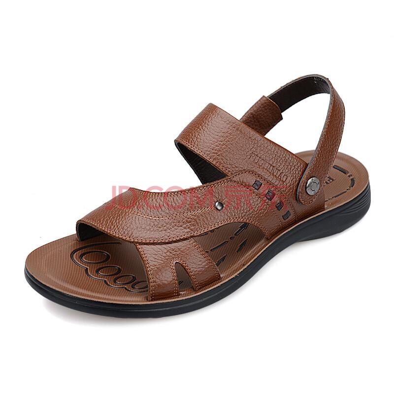 【清仓】富贵鸟(FUGUINIAO) 真皮男沙滩凉鞋凉拖男鞋C397316 卡其 39