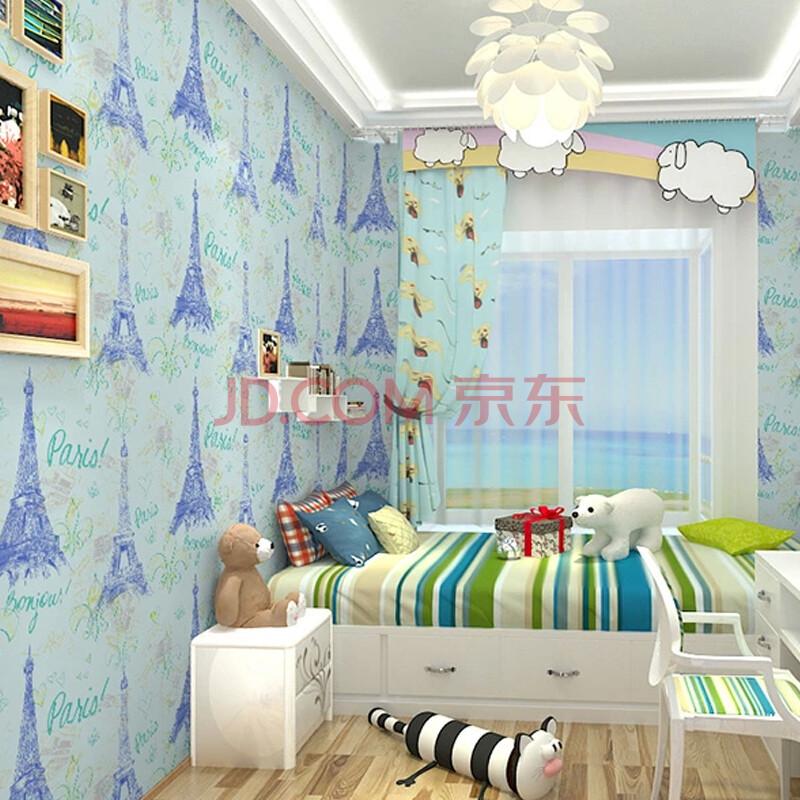 无纺布墙纸 儿童房壁纸 埃菲尔铁塔图案 纯纸天然植物
