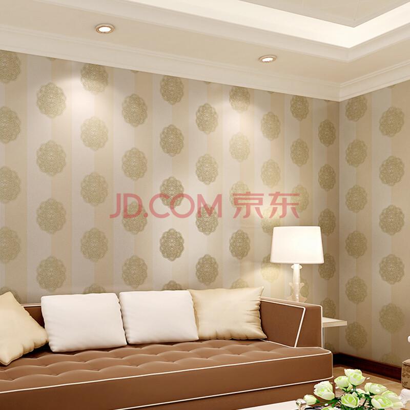 r玛尚无纺布壁纸 简约欧式条纹墙纸 卧室客厅满铺环保图片