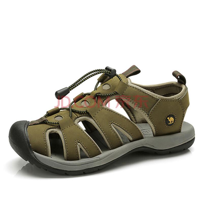 【春款男鞋】骆驼(CAMEL)磨砂皮透气休闲男士防撞包头凉鞋沙滩鞋 82036614 军绿 38