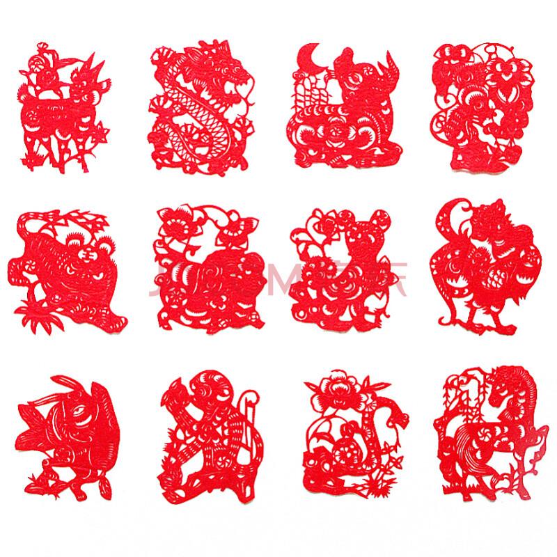 传统手工剪纸 中国风特色礼品 外事出国礼物 动物窗花(十二生肖)