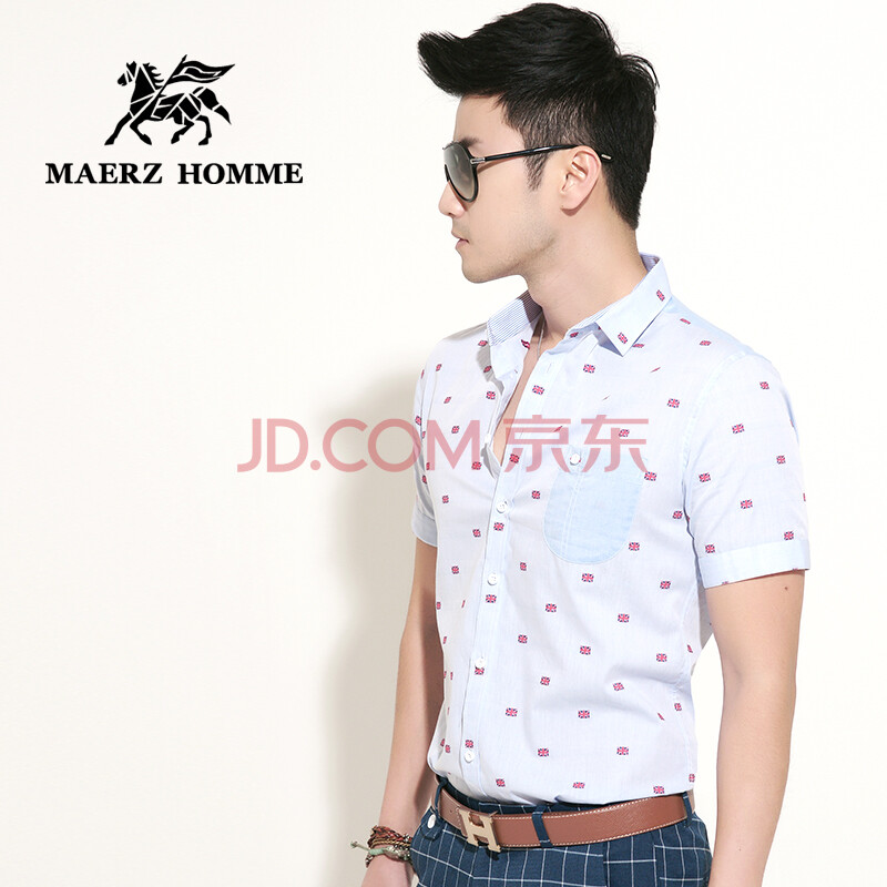 MAERZ男装2014新款短袖衬衫 韩版修身短袖格子衬衣休闲寸衫潮春