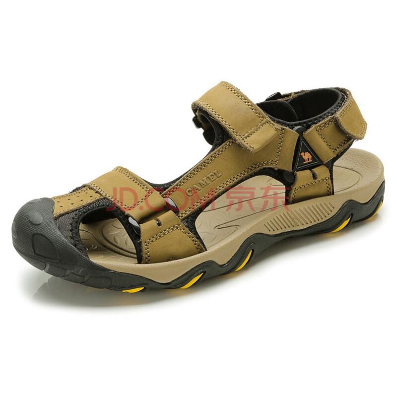 【春款男鞋】骆驼(CAMEL)情侣款防撞凉鞋户外休闲男女款沙滩鞋82309607 卡其男款 40